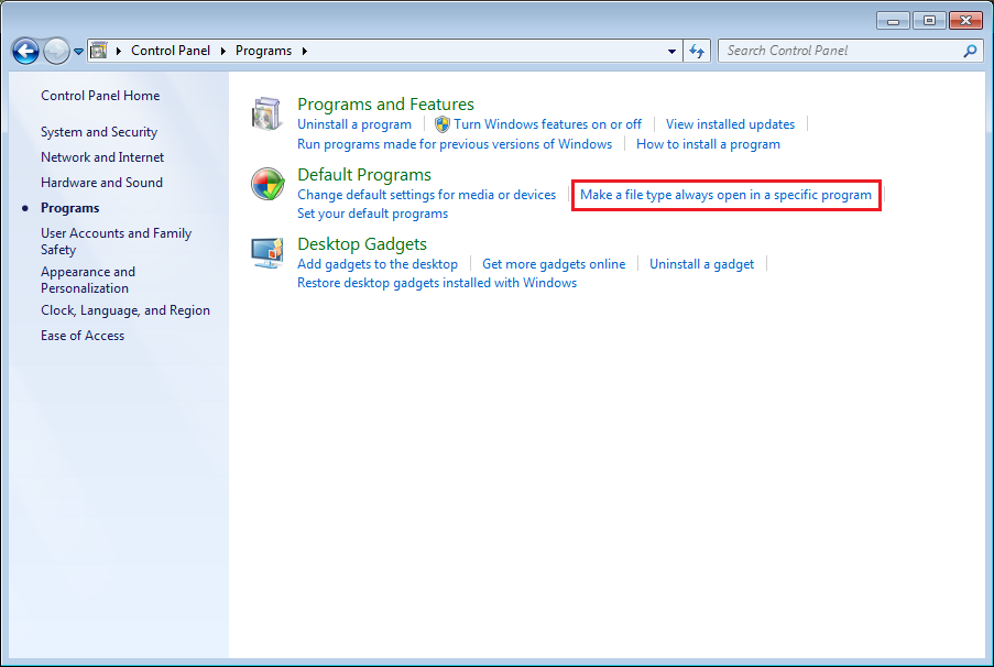 "Click ""Associate a file type or protocol with a program"" on the window displayed."